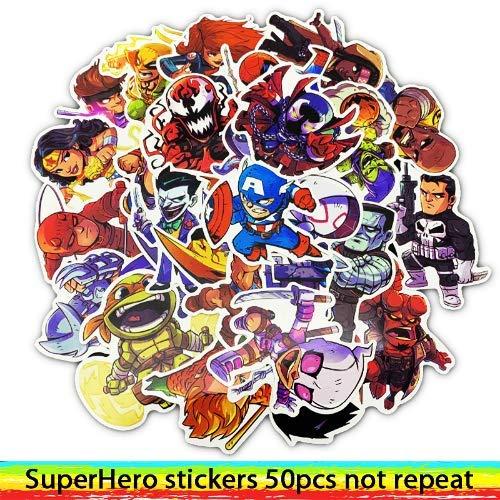 HZHUI Marvel The Avengers Supereroi Sticker Impermeabile per Laptop Moto Skateboard Bagagli Chitarra Furnitur Decal Toy Stickers 50pcs