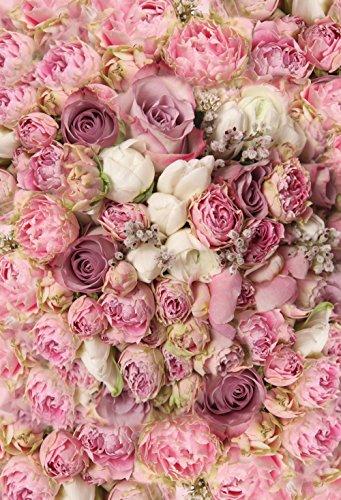 konpon 150x 220cm Pink Rose Blumen Baumwolle Polyester Fotografie Hintergrund waschbar Neugeborene Foto Studios Baby Requisiten Hochzeit Hintergrund Drop kp-415