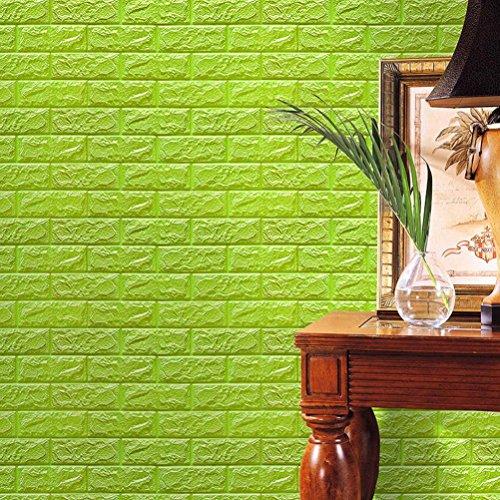 Wall Stickers , PE Foam Embossed Brick Stone 3D Wallpaper DIY Wall Stickers Wall Decor Home Decor 60 X 60 X 0.8cm (Grün, 60 X 60 X 0.8cm)