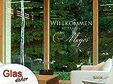 GRAZDesign 980041_50 Fenstertattoo Schriftzug Willkommen mit Wunschname | Fensterfolie für den Flur - Glastattoo Eingangs-Tür (80x50cm)