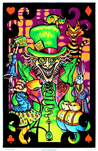 UltraViolet Distributing Alice im Wunderland-Mad Hatter Poster Collage Beflockt, Blacklight, 58 x 86 cm - Blacklight Poster