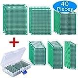 AUSTOR 40 Piezas Placas Circuito Impreso 6 Tamaños PCB Prototipo de Doble Cara con Caja Libre para Soldadura Bricolaje y Proyecto Electrónico