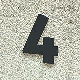 Hausnummer Nr. 4 - Schriftart: Modern - Höhe: 20 - 30 cm - viele Farben wählbar (RAL 7016 anthrazitgrau (anthrazit grau) glänzend, 30 cm)