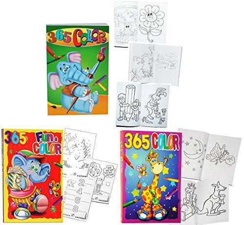 3 Stück: XXL MEGA - dicke Malbücher / Beschäftigungsbücher - mit 365 Seiten - Tiere Auto Zootiere - Malvorlagen / teilweise mit Rätsel - für Kinder - Mädchen Jungen Malbücher - Malbücher / Riesenmalbuch