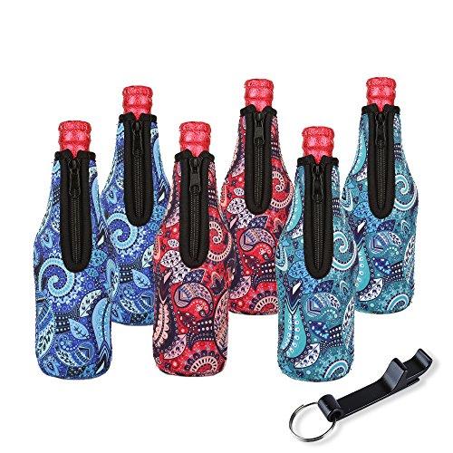 kühler mit Reißverschluss Set von 6 Neopren Isolatoren Coolie Ärmel für Flaschen Getränke mit Bieröffner 330ml(Paisleymuster) (Halloween-drink-ideen Für Kinder)