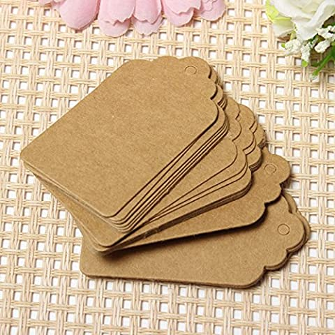 Tutoy 100Pcs 7X4cm Scallop Kraft Paper Label Party Wedding Gift Nom Cartes Hand Draw Nom Card