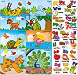 #1: SARTHAM, Jigsaw Puzzles for Toddlers, 12 Puzzles (Alphabets, Animals & Birds)