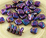 20pcs Metallic Iris Lila Vega Luster Flach Gewellten Quadrat-Chip Waschmaschine Tschechische Glas-Perlen 10mm x 4mm