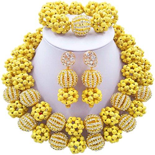 Laanc 2rows Rouge Collier de perles Turquoise et strass Doré du Nigeria africain Bijoux Femme Définit Vibrand Yellow and Rhinestone Gold