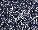 Qualitativ hochwertiger Denimstoff mit Sternen bedruckt,