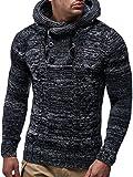 LEIF NELSON Herren Pullover Hoodie Kapuzenpullover Strickpullover Longsleeve Sweater Sweatshirt Pulli LN20227 (X-Large, Schwarz)
