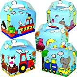 German Trendseller® - 8 x Geschenke Boxen Kleine Tiere ┃ Party Boxen mit Griff zum Befüllen ┃ Kindergeburtstag ┃ Mitgebsel