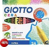 Giotto 282200 Pastelli a Cera, 9 mm, Confezione da 24