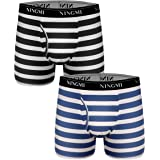 NINGMI 2/6 Packs Mens Striped Boxer Briefs Open Fly Pouch Underwear Breathable Stretch Boxers Shorts Sports Trunks