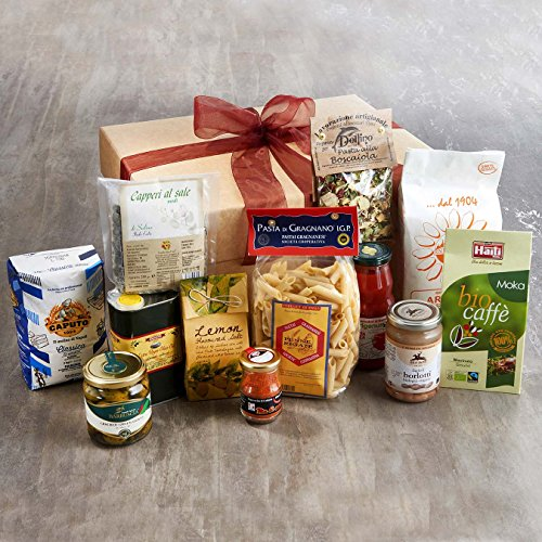 Italian Pantry Ingredients Hamper Extra Virgin Olive Oil from Liguria (500ml) Balsamic Vinegar from Modena (Aged 8 Years) (250ml) Gourmet Herb Salt (200g) Slow Food San Marzano Tomato Passata (380ml) Ortolana Dried Pasta Sauce Mix (50g) Organic Borlotti B