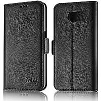 tinxi® ECHT Ledertasche für Samsung Galaxy S6 Tasche Schutz Hülle Schale Etui Case Cover mit Stand Funktion Kartenfächer Bookstil Schwarz