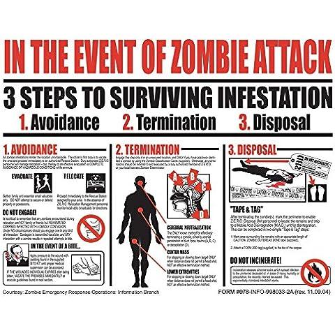 vinteja gráficos de zombi guía de supervivencia–A3cartel impresión