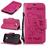 Samsung Galaxy A3 2017 Case,Samsung Galaxy A3 2017 Flip Wallet Cover, Samsung Galaxy A3 2017 DON'T TOUCH MY PHONE Case, Cozy Hut Luxury Elegant Printing Drawing Angry Bear Design Pattern Case Magnetic Flip Protective Cover Executive Wallet Bool Style PU Leather Cover with Credit Card Holder slots for Samsung Galaxy A3 2017 - Rose red bear