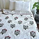 #4: Namaste India Double Bed Size White Jaipuri Cotton AC Quilt Razai Floral Prints for Winters