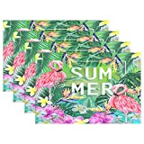GOODSTHING napperon, Tropical Hibiscus Flower Pink Flamingo Placemat Table Mat 12' x...