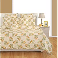 Swayam Caramel Collection 180 TC 100% Cotton Flat King Bedsheet with 2 Pillow Cover, Multi Color, 260 x 270 cm