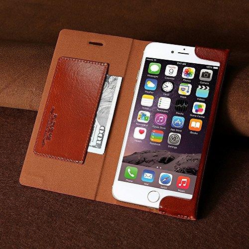 GHC Cases & Covers, FLOVEME für iPhone 6 & 6s, Horizontal Flip Echtes Leder Schutzhülle mit Halter & Kartensteckplätze ( Color : Brown ) Blue