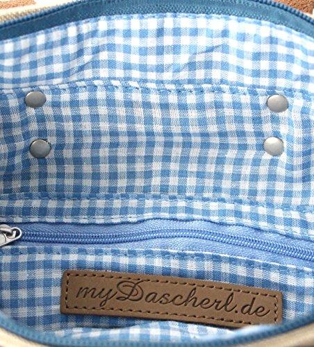 Chic, Affascinante E Molto Personale! Mydascherl - Pratica Borsa Di Tela Con Ricamo Di Alta Qualità, Mini: 26cm X 24cm X 12cm, Disponibile In 2 Colori (blu) Blu
