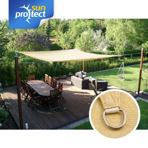 sunprotect 83216 Professional Toldo / Vela de Sombra, 3.5 x 4.5 m, rectangular, beige