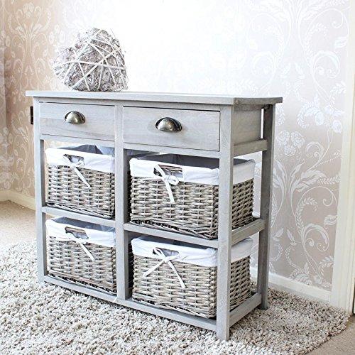 Vintage Grey Range - Two Drawer and Wicker Basket Storage Unit