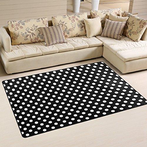 Use7 - Alfombra Antideslizante, diseño de Lunares, Color Blanco y Negro, Tela, 100 x 150 cm(3' x 5' ft)