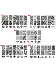 5pcs nail art stamping tampon plaque Template Plastique rectangle Motif impression Vernis gel UV acrylique DIY Outil