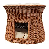 2-81-5 Ovale Katzenhöhle aus Weide von GalaDis. Mit zwei Kissen. Ein Katzenkorb für Ihre Katze zum Ruhen und Spielen. - 4