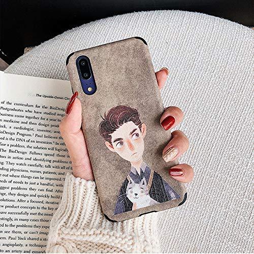 E - Art Cute Bear Hold Girl Handy Shell Persönlichkeit Geprägte Weiche Silikon Fallschutzhülle (Color : Boy, Size : iPhone XS MAX) ()