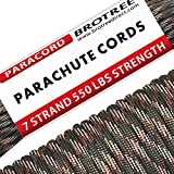 Brotree 31m Paracord Cuerda de Paracaídas de Nylon 550 lbs 7 Resistentes Hebras de Fibra Poliéster para Escalada Kit de Supervivencia Acampada (Estándar, Reflectante)