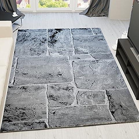 VIMODA tibet7413classique salon Tapis Aspect, tissage très Dich, mur de pierre, Top Qualité, gris, 80 x 300 cm