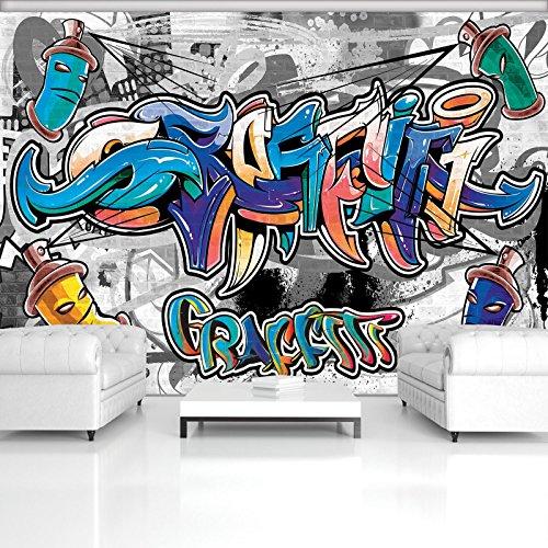 FORWALL Fototapete Tapete Buntes Graffiti auf Grau P4 (254cm. x 184cm.) Photo Wallpaper Mural AMF2294P4 Gratis Wandaufkleber Graffiti Spray Wand Aufschrift Bunt Farb
