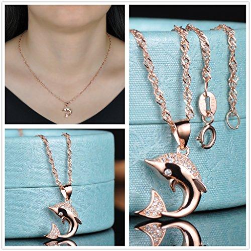 Yumilok Roségold 925 Sterling Silber Zirkonia Delfin Ohrstecker Halskette Schmuck Set Ohrringe Kette mit Anhänger Set für Damen Mädchen - 4