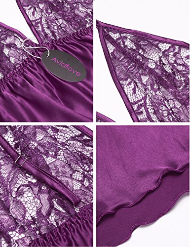 Avidlove Damen Zweiteiliger Schlafanzug kurz Nachtwäsche Nachthemd Pyjama Shorts Spitze Violett