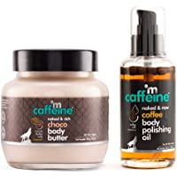 mCaffeine Coffee-Choco Intense Moisturization Set   Pre & Post Shower   Body Oil, Body Butter   Reduces Stretch Marks…