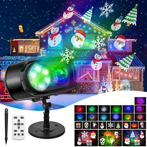 Greatever LED Projektor, IP65 LED Projektionslampe mit Fernbedienung 3D Rotierende Wasserwellen-Welleneffekt Lichter Projektions für Innen, Außen, Halloween, Weihnachten und Gartenleuchte Party Dekor