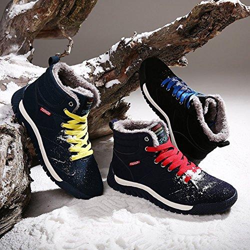 Hibote Hommes Chaussures Hiver Sneakers Hiver Chaussures Chaud Doublé Sneaker Sport Baskets Hautes Bottes de Neige Trekking Chaussures Casual Chaussures de Marche Bleu Foncé Vert Noir 39-44 Vert