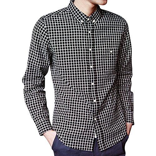 URBANFIND Hommes Mince Fit coton Plaid Robe Chemises Noir