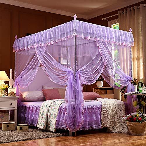 SanQing Moskitonetz Pink Princess 4 Ecken Pfosten Bett Vorhang Baldachin Moskitonetz einschließlich Zelte und Rahmen,Purple,1.2x2.0mbed22mmH