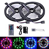 Noza Tec Full LED Strip Kit,2 Reels Non-Waterproof RGB Colour Changing 300 LEDs 3528 SMD with Remote Controller & Power Adaptor