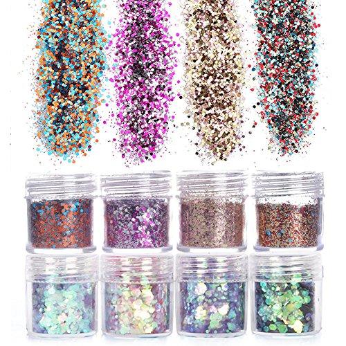 NICOLE DIARY 8 Boxen schillernden kosmetische Glitter Farbverlauf für Gesicht Nagel Körper Pailletten gemischte Größen Paillette Glitter Pulver Maniküre Make-up ()