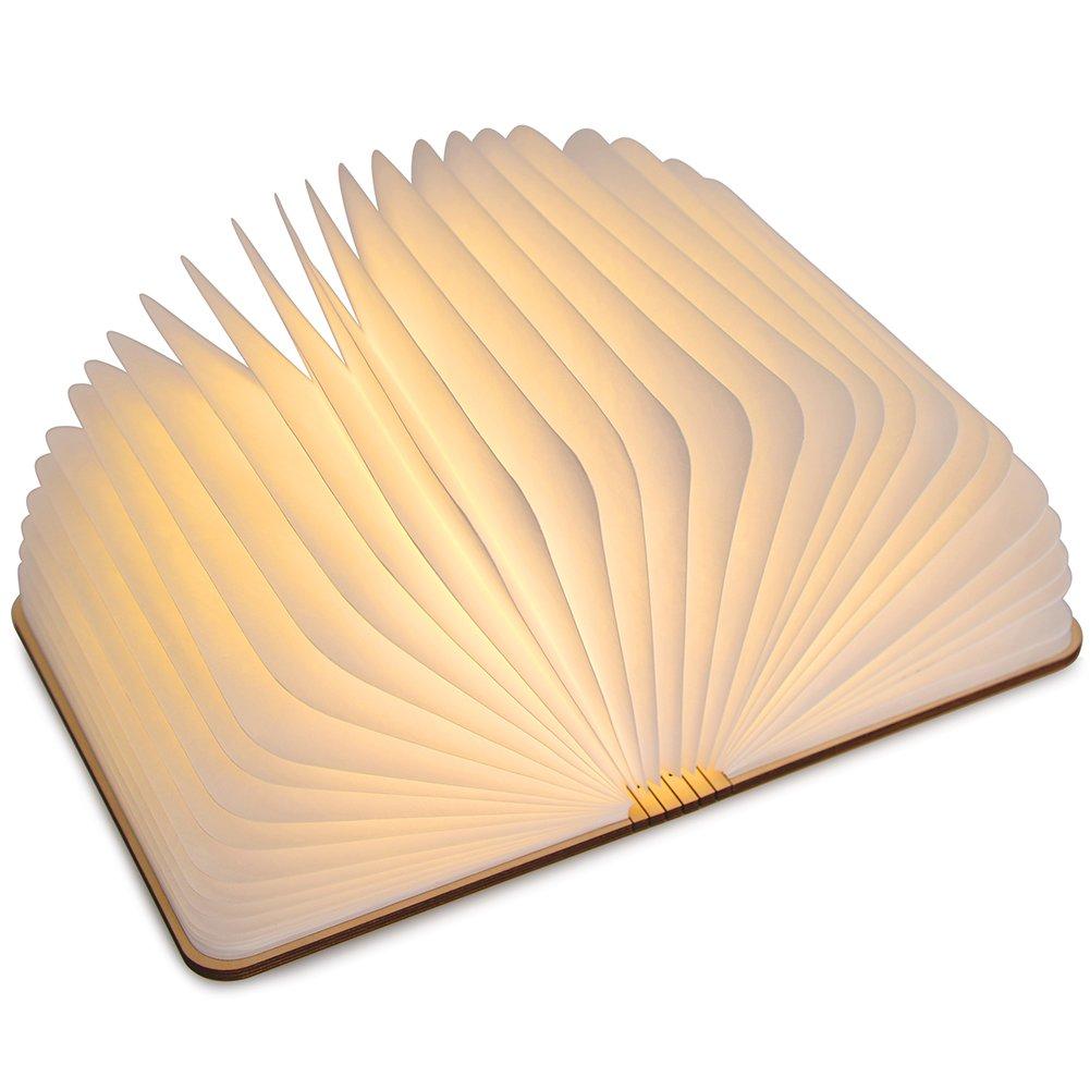 LEDGLE lampade Libro USB Ricaricabile Pieghevole in Legno Magnetico LED Light del Libro di Lamp 2500mAh batterie al Litio scrivania Lampada da Tavolo,500 Lumens Maggiore Luminosit/à,Bianco Caldo