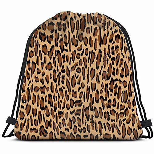 leopard design illustratin trendy animals wildlife Drawstring Backpack Gym Sack Lightweight Bag Water Resistant Gym Backpack for Women&Men for Sports,Travelling,Hiking,Camping,Shopping Yoga