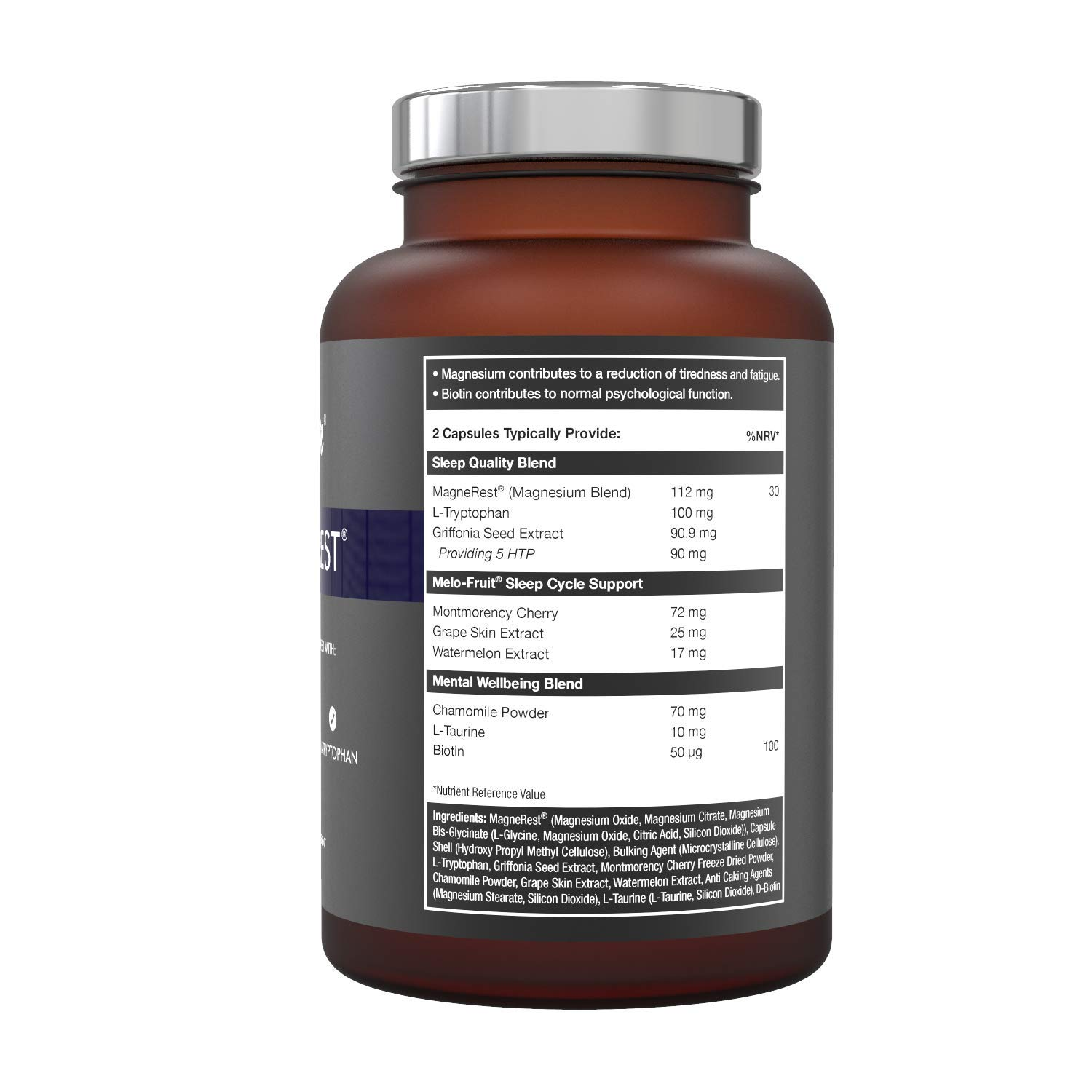 5-HTP + Magnesium + Natural Melatonin Sleeping Aid - Montmorency Cherry,  Chamomile, L Tryptophan Supplement Pills | Neuro Rest Tablets by Utmost Me