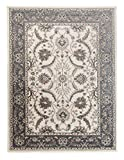 Großer traditioneller Perserteppich - Creme Grau - Perser Keshan Ziegler Orientalisches Nain Muster - Ferahan Meander Blumen Ornamente - Top Qualität Pflegeleicht Teppich
