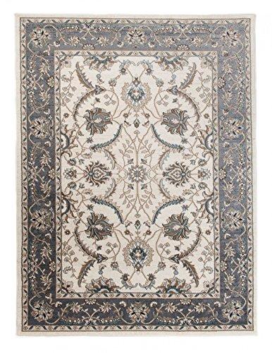 *Großer traditioneller Perserteppich – Creme Grau – Perser Keshan Ziegler Orientalisches Nain Muster – Ferahan Meander Blumen Ornamente – Top Qualität Pflegeleicht Teppich*